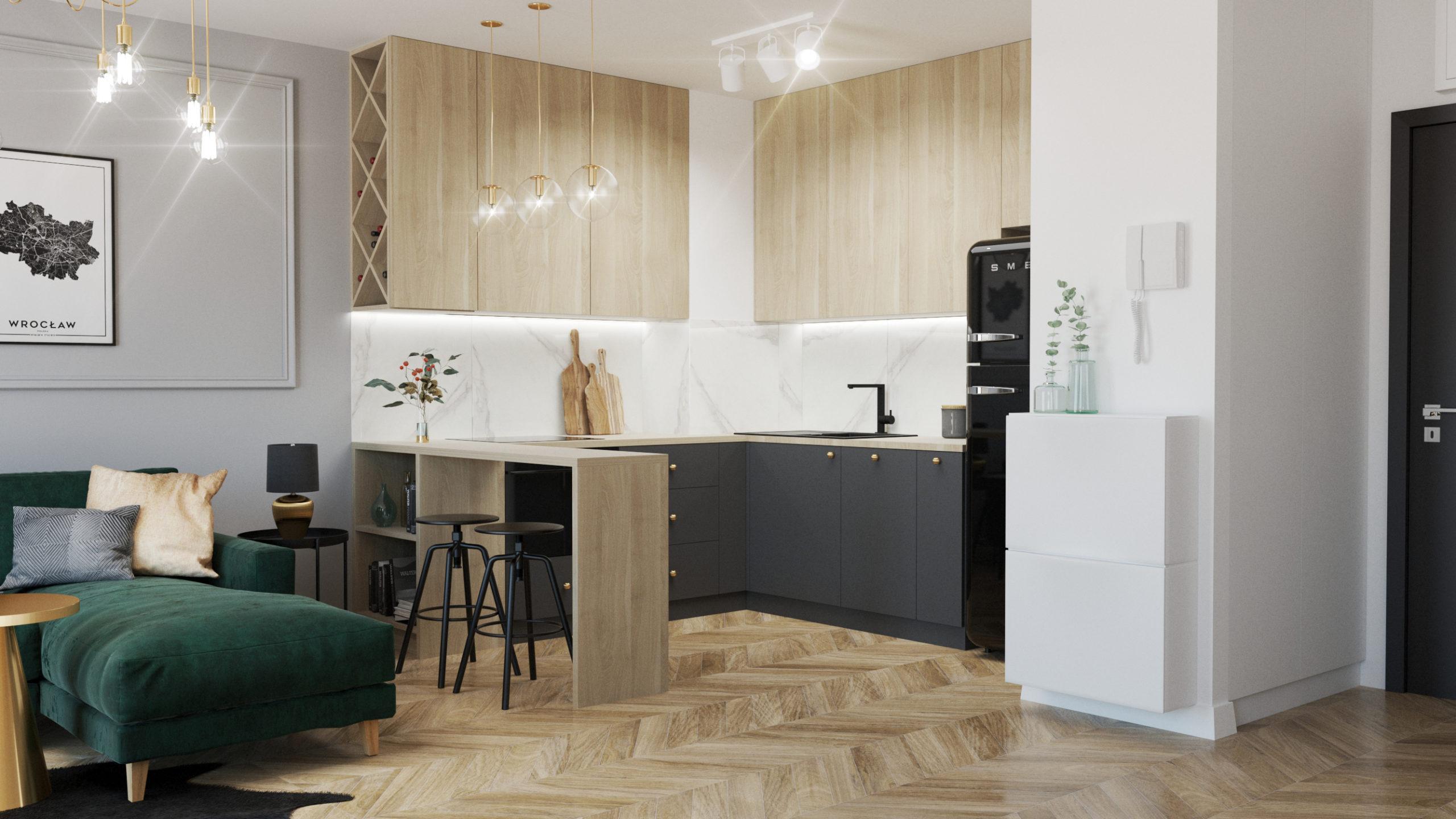 maly stół, salon z jadalnią, zielone dodatki, szafa z siedziskiem