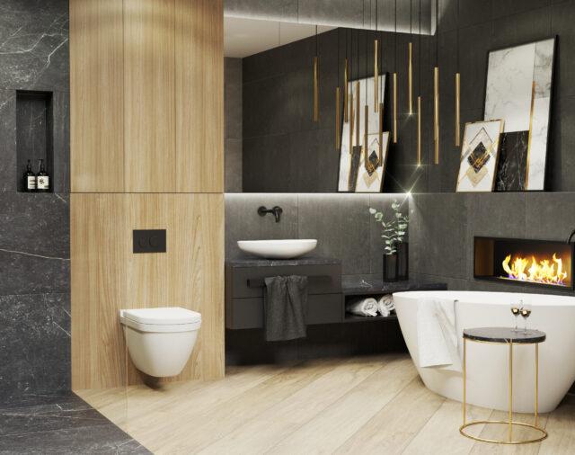 Ciemna łazienka. Czy naprawdę pomniejszy przestrzeń?