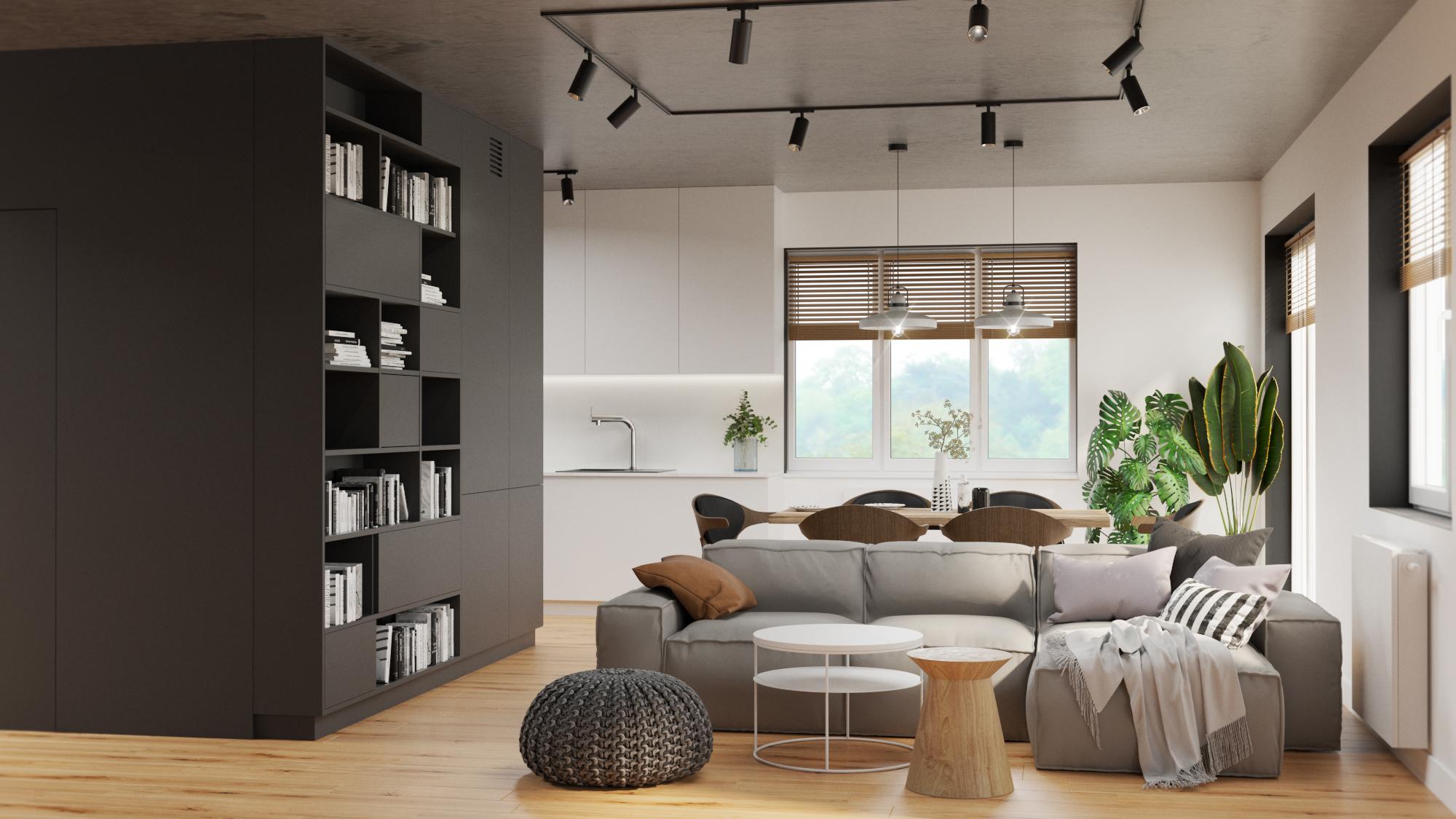 nowoczesny salon_czarny kubik_czarne zabudowy