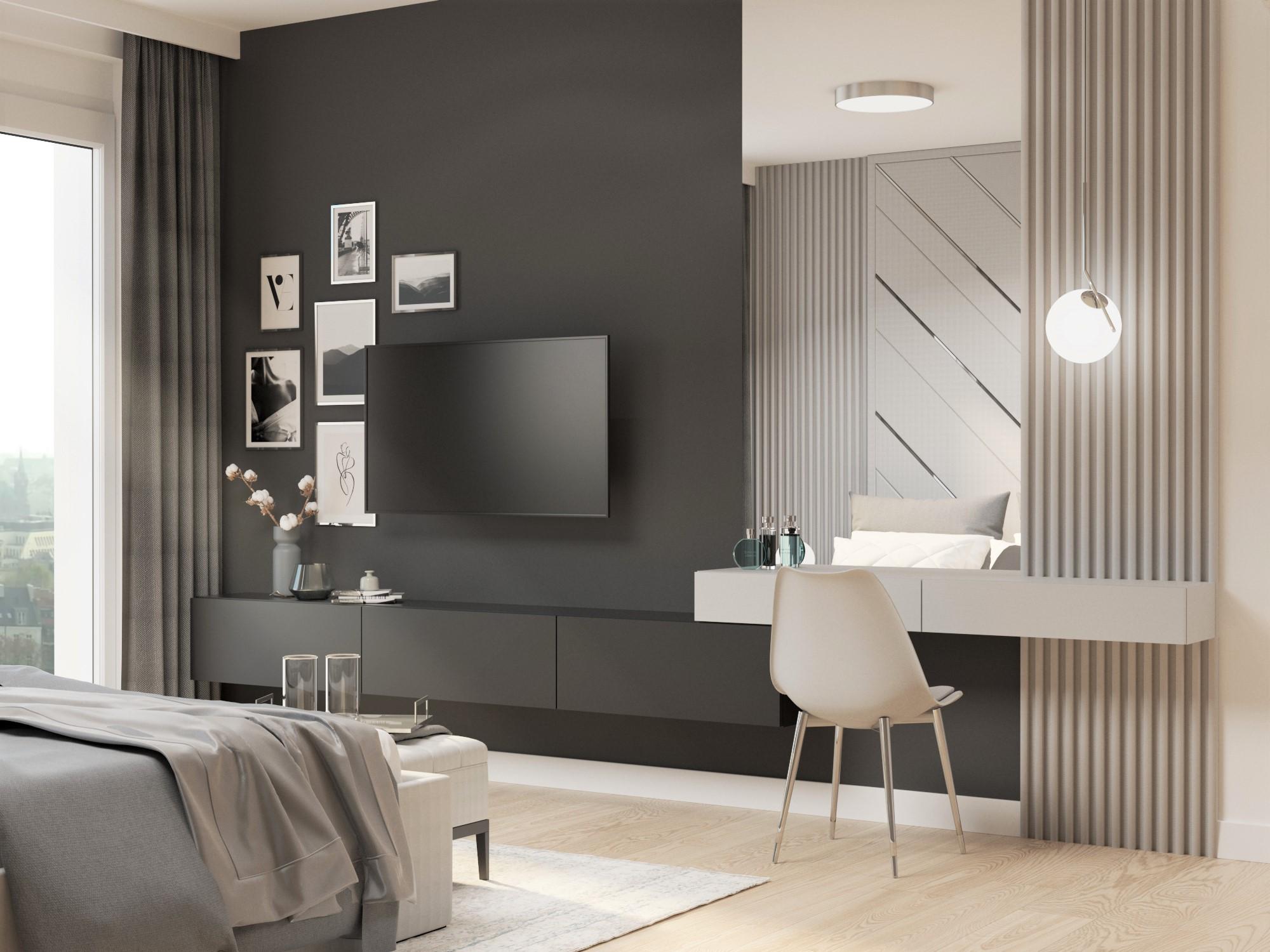 toaletka_sciana z tv_czarna sciana_ciemnasciana w sypialni