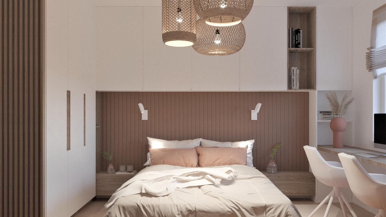 Sypialnia z zabudowami na wymiar