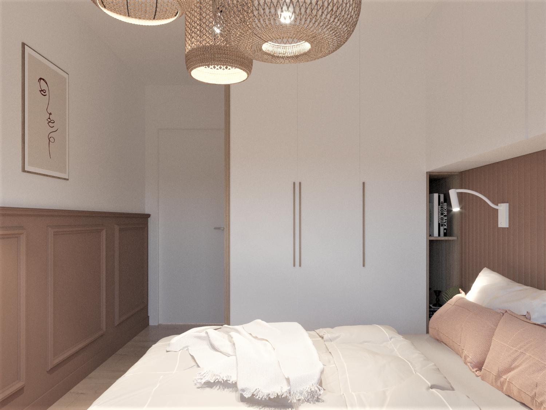 Zabudowy na wymiar w sypialni ze sztukaterią, tapicerowany zagłówek