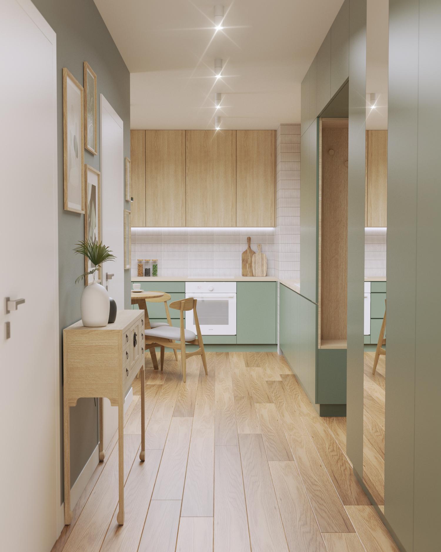 Zielona, jasna kuchnia z mozaiką nad blatem, raw decor