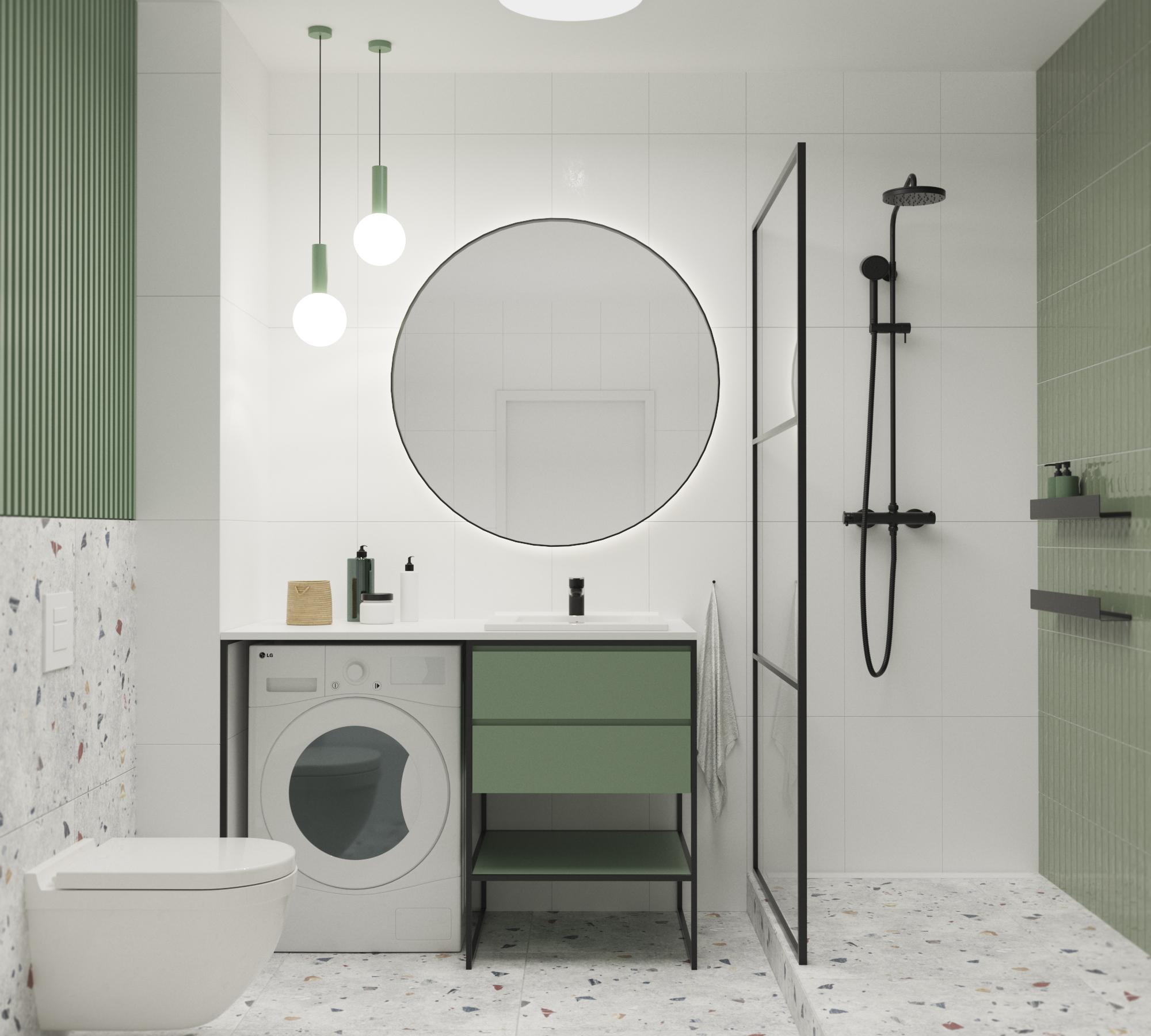 Zielona łazienka z nowoczesnym lastriko