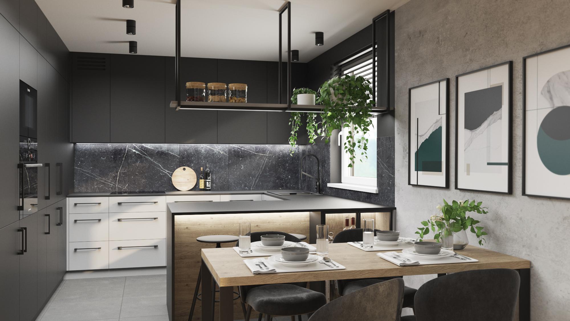 Ciemna kuchnia_szaro grafitowa kuchnia_meble kuchenne na wymiar_zabudowy na wymiar_betonowa sciana