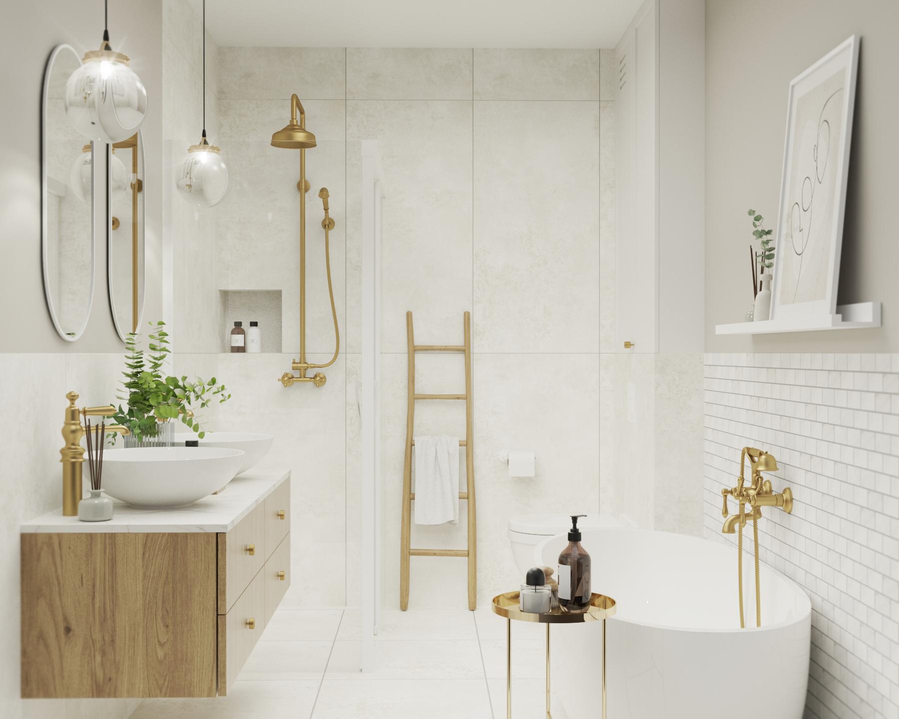 jasna łazienka z wanną wolnostojącą_wanna i prysznic_moziaki_raw decor_zlota armatura