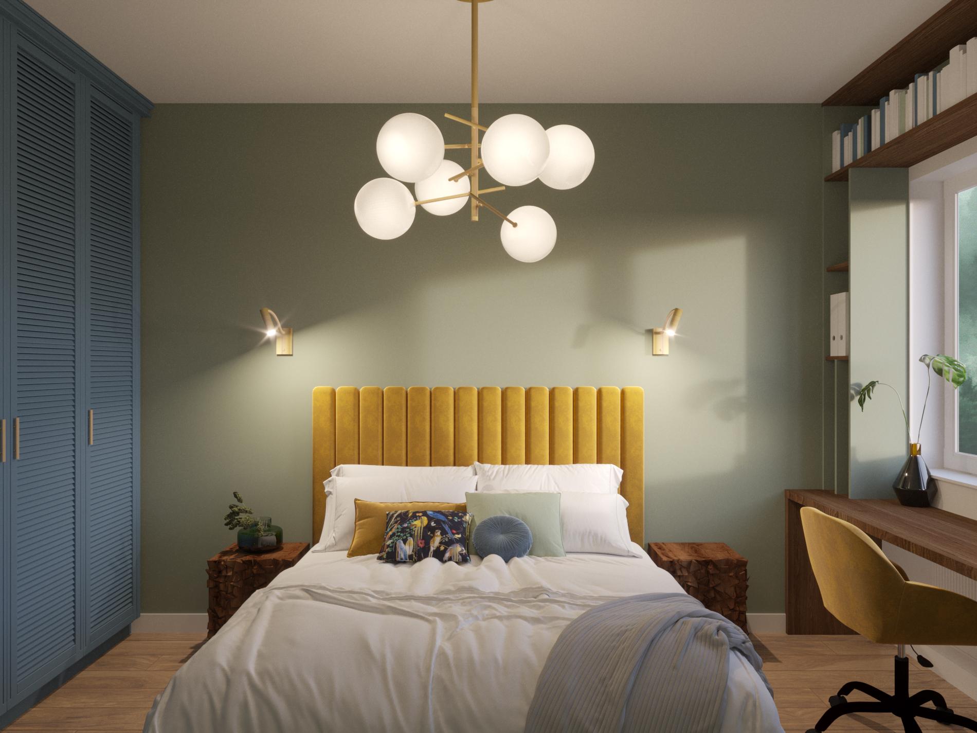 kolorowa sypialnia_niebieska szafa_żółte łóżko
