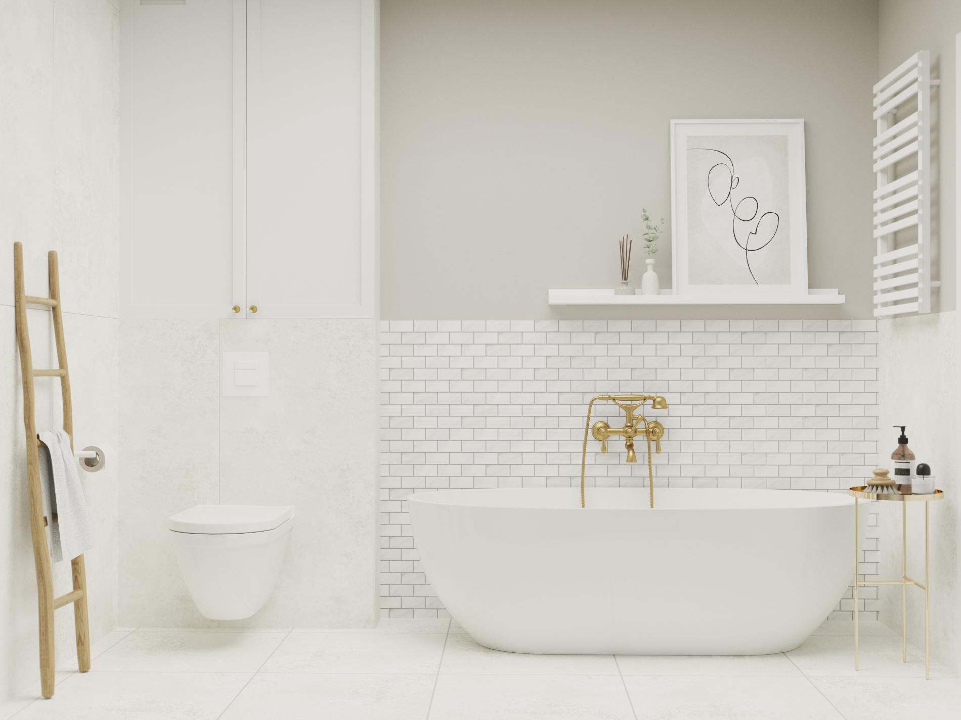 wanna wolnostojąca_beżowa łazienka_ mozaiki raw decor_przechowywanie w łazience