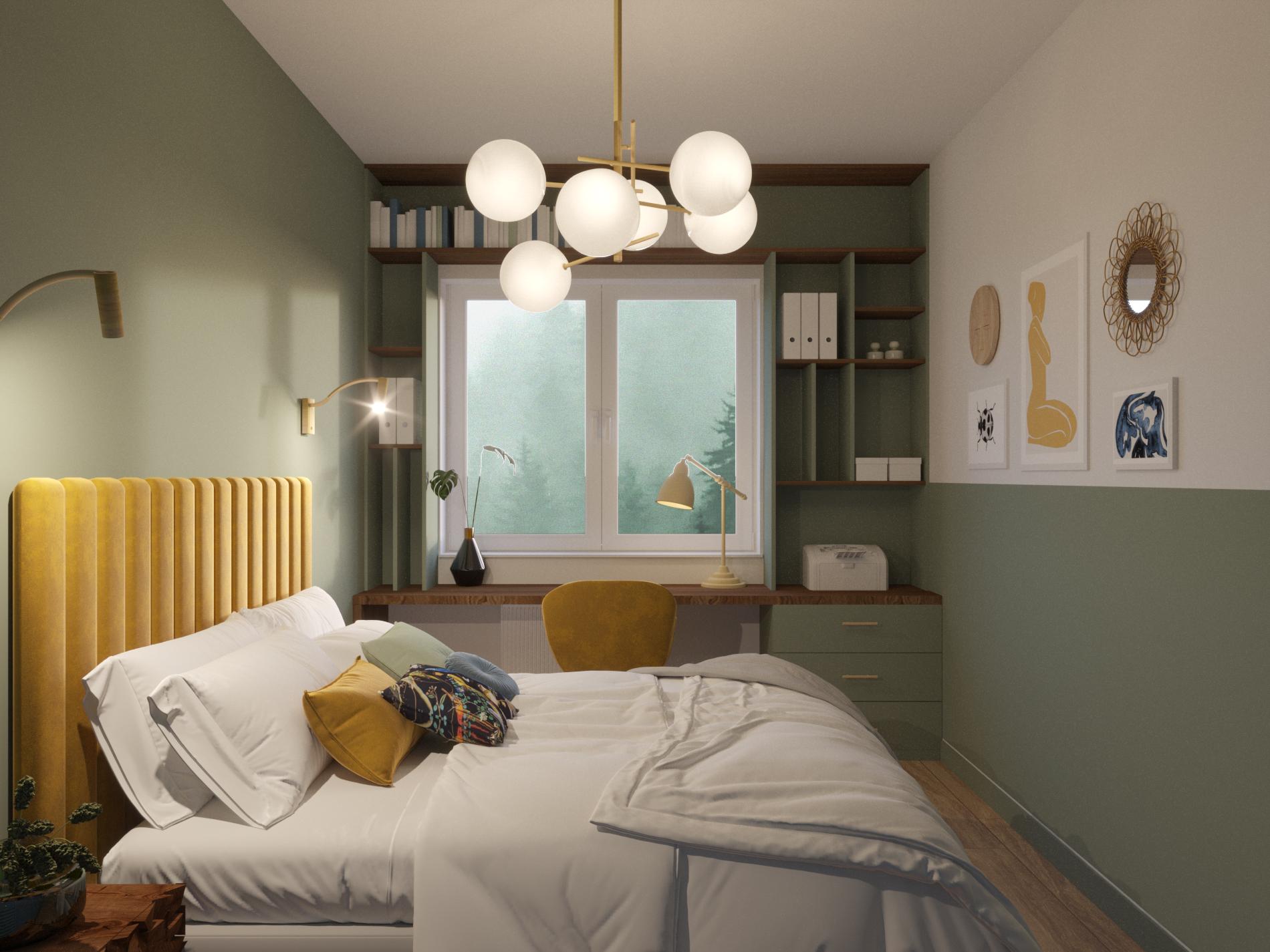 zielona sypialnia_miejsce do pracy w sypialni_zabudowa pod oknem_domowa biblioteczka