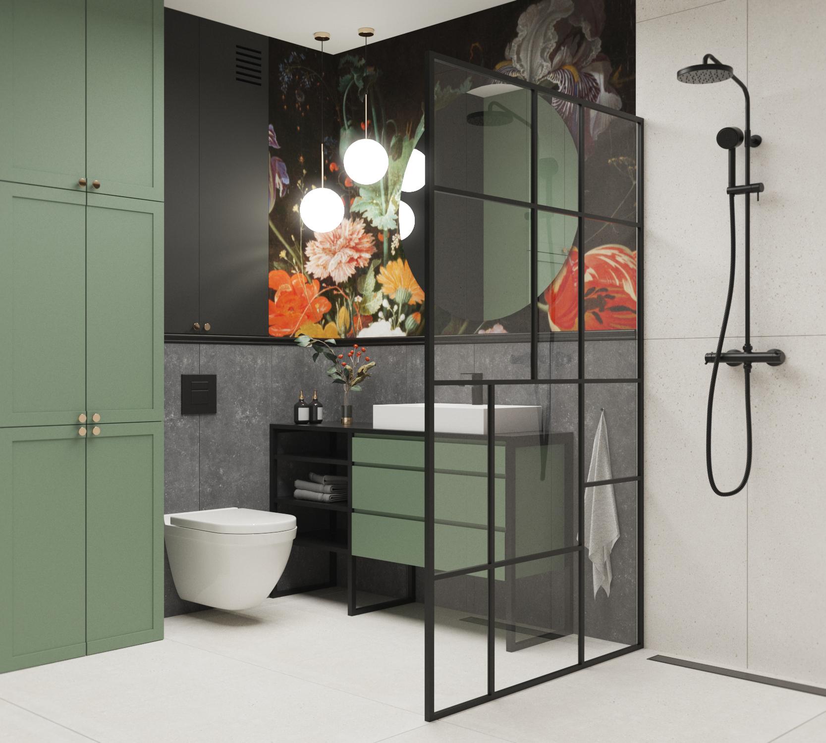 tapeta w łazience_wonderwall_tapeta do łazienki_zabudowy_pralka w zabudowie_zielone zabudowy_tapeta w kwiaty
