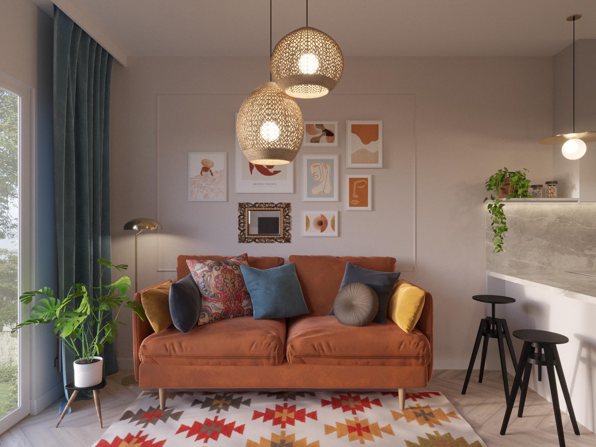 maly salon z aneksem_mieszkanie na parterze_kolorowy salon_pamaranczowy salon