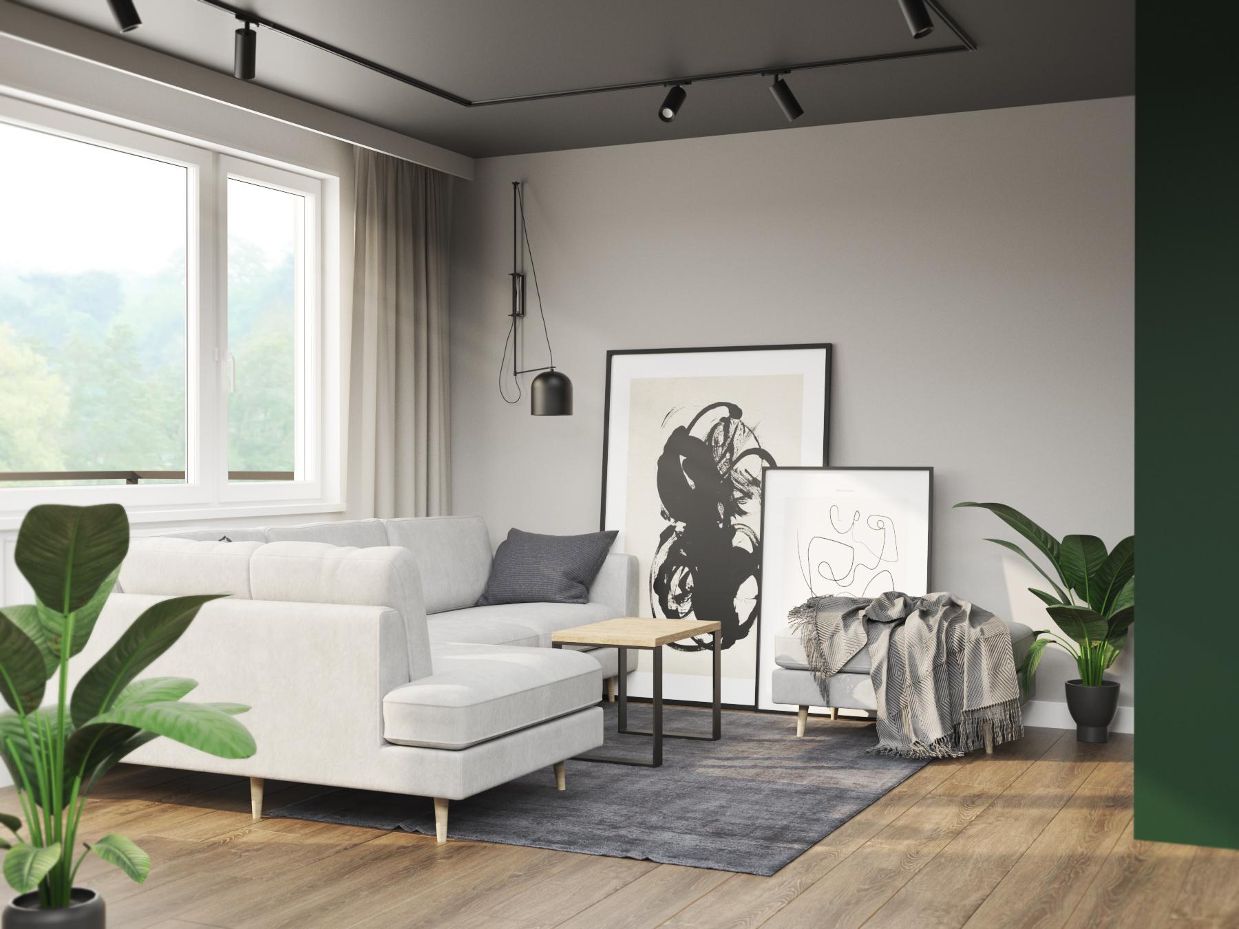 nowoczensny salon_ciemy sufit