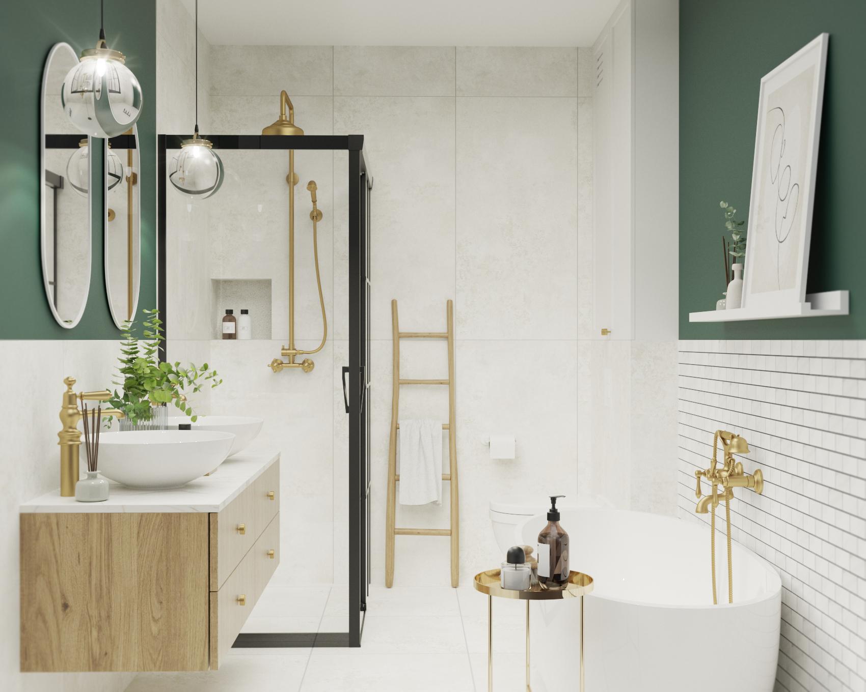 zielona łazienka z wanną_czarny prysznic