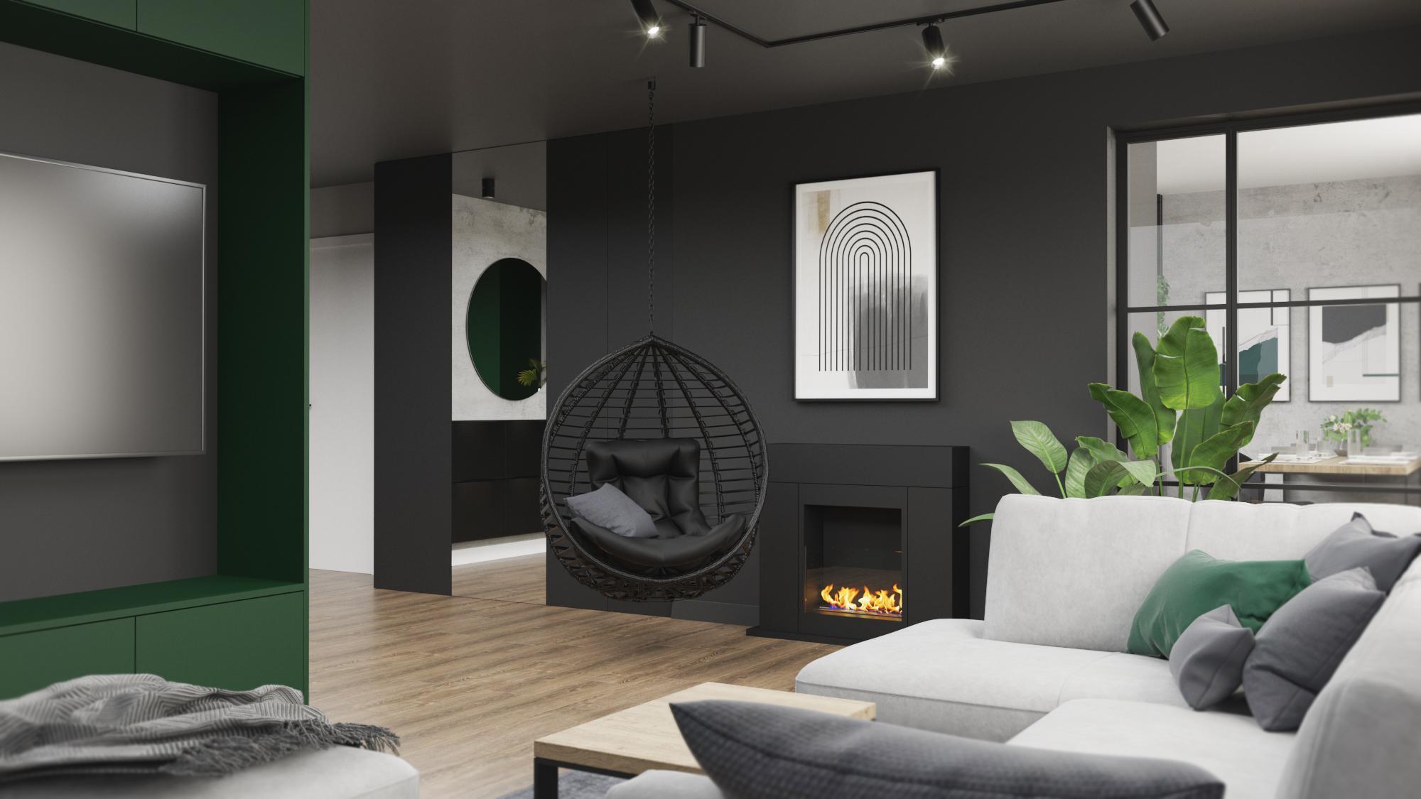 salon z bio kominkiem_bio kominek_kominek w salonie_nowoczesny kominek_minimalistyczny kominek